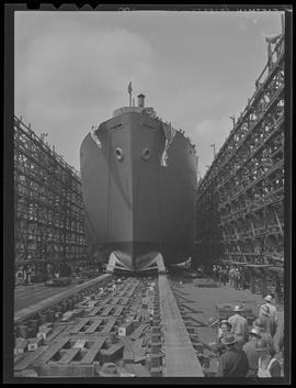 Launching of S.S. Eugene Skinner at Oregon Shipbuilding Corporation