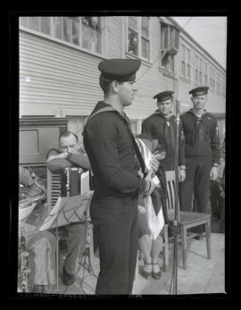 U.S. Navy serviceman Edward F. Fox speaking during award ceremony at Albina Engine & Machine ...