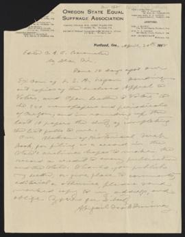 Letter from Abigail Scott Duniway to the editor of the O. A. C. Barometer