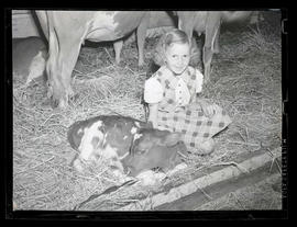 Girl with calf