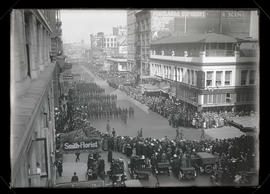 Multnomah Guard marching on 6th Street, Portland, during War Activities parade