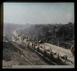 Railroad track being laid