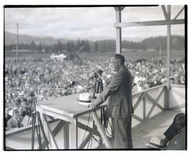 President Franklin D. Roosevelt giving speech at Bonneville dam construction site