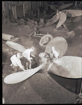 Finish work on a steel propeller at Columbia Steel Casting Company