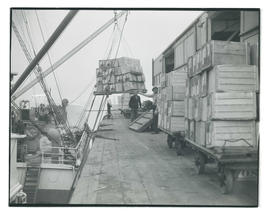Workers loading crates onto ship