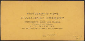 "Verso of, ""View on the Columbia River from the O.R.R. Cascades."" (Stereograph 1292)"