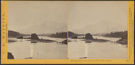 """Moonlight on the Columbia, from the O.R.R. Cascades."" (Stereograph 1287)"