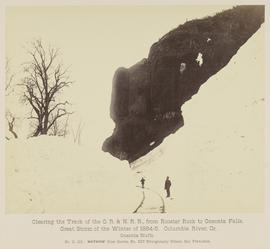 """D.112. Clearing the Track of the O.R. & N.R.R., from Rooster Rock to Oneonta Falls. One..."