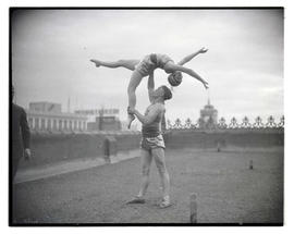 Acrobats on rooftop