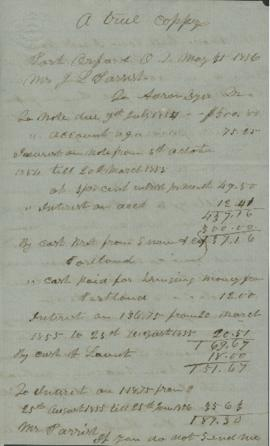 Copy of letters between J.L. Parrish and Aaron Dyer regarding accounts