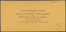 "Verso of, ""Lower Cascades, Columbia River."" (Stereograph 1255)"