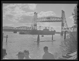 S.S. George Vancouver traveling under the Interstate Bridge after launch from Vancouver Shipyard