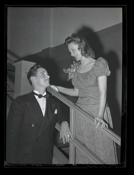 Marylhurst College student with unidentified man at spring formal, 1944