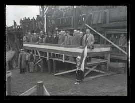 Officials and workers at keel laying for Dutch cargo ship, Albina Engine & Machine Works, Por...