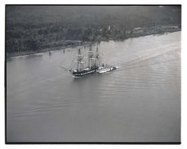 USS Constitution and tugboat under way on Columbia River?
