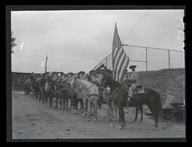 Members of civil defense group on horseback at Multnomah Stadium, Portland?