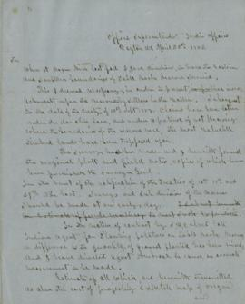 Letter From Joel Palmer to George Manypenny, Commissioner of Indian Affairs