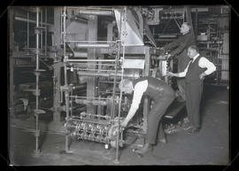 T. J. James, Hyman H. Cohen, and H. A. King with new Oregon Journal printing press