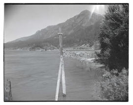 Wooden post near riverbank, Columbia River Gorge