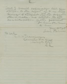 Partial copy of letter to George Manypenny