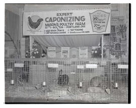 Mason's Poultry Farm booth, probably at Pacific International Livestock Exposition