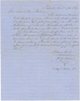 Letter to Sarah Ann Palmer from D.W. Slack, regarding the death of her brother John Derbyshire an...