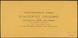 "Verso of, ""View on the Columbia River from the O.R.R., Cascades."" (Stereograph 1291)"