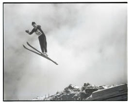 Ski jumper in midair at Multorpor hill