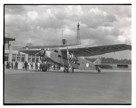 Pacific Air Transport plane at Swan Island airport, Portland
