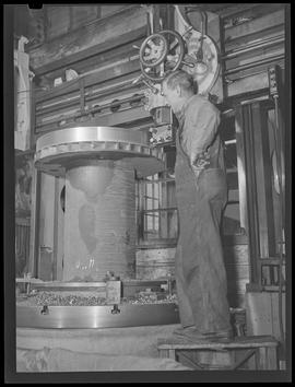 Worker at Commercial Iron Works, Portland