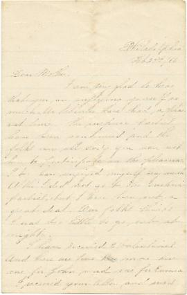 Letter to Sarah Ann Palmer from Alice Palmer?