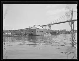 Portland waterfront docks and repair facilities, with St. Johns Bridge