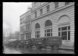 Oregon Journal trucks parked outside Journal Building, Portland