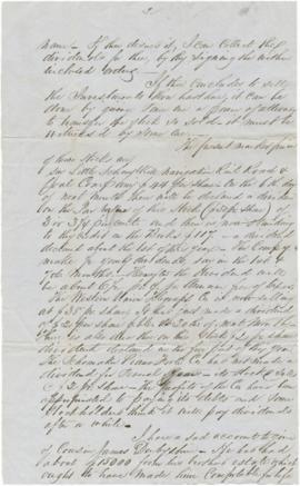 Letter to Sarah Ann Palmer from Alex J. Derbyshire regarding financial matters. Page one missing.