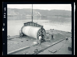 Large spool of cable on Willamette River barge