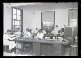 University of Oregon medical students working in laboratory