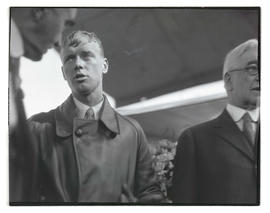 Charles Lindbergh after arriving at Swan Island, Portland