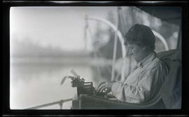Irene Finley with a typewriter