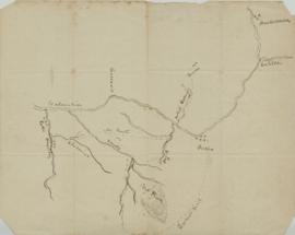 Map, hand drawn, showing Columbia River and tributaries, Mt. Hood, Portland and other cities.