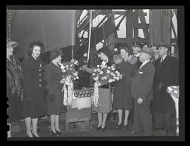 Ship-launching ceremony at Albina Engine & Machine Works, Portland
