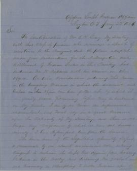 Letter from Joel Palmer to George Manypenny