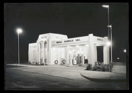 Shell service station at night