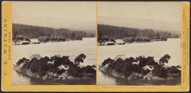 """Islands in the Columbia, from the Upper Cascades."" (Stereograph 1274)"