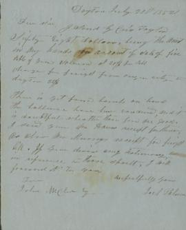 Letter from Joel Palmer to John McClure