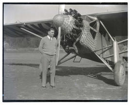 "Tex Rankin with airplane, ""Queen of the Cascades"""