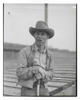 Harold Piper, half-length portrait, probably at Pacific International Livestock Exposition