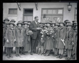 George L. Baker with group of Girl Scouts