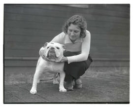 Woman with bulldog