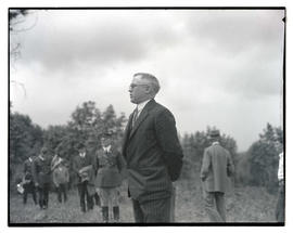 Joseph A. Hill speaking at Hill Military Academy groundbreaking ceremony