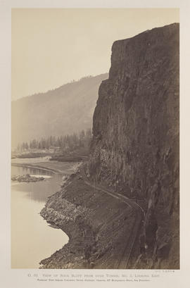 """O.33. View of Rock Bluff from over Tunnel No. 3. Looking East."""